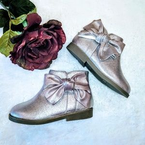 wonder nation metallic girls boots ankle New bow
